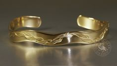 yellow gold cuff, featuring a gum leaf design and a 6 curve wave John Miller, Leaf Design, Handcrafted Jewelry, Wave, Artisan, Wedding Rings, Engagement Rings, Jewels, Yellow