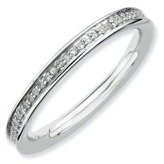 Promise Rings Simple   225mm Rhodium Plated Sterling Silver Stackable Expressions Diamond Eternity Ring  Size 10 *** More info could be found at the image url. Note:It is Affiliate Link to Amazon.