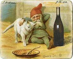 Christmas in Denmark ~ a few important traditions. The family's Nisser is fed at Christmastime. Note that, since the Nisser are household creatures, they are, of course, friendly with the family cat. Danish Christmas, Scandinavian Christmas, Illustration Noel, Illustrations, Vintage Christmas Cards, Vintage Cards, Elves And Fairies, Christmas Gnome, Fairy Art