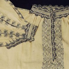 Italian Needlework: Assisi Embroidery on late 16th century Italian man's shirt.