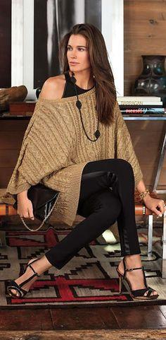 Designer fashion | Ralph Lauren off the shoulder brown crochet oversize sweater