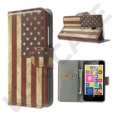 Moberg (Vintage USA Flag) Nokia Lumia 630 / 635 Læder Flip Etui