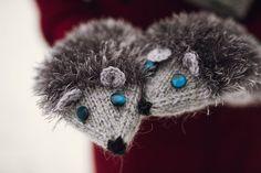 Nice Knited Gray Hedgehog Fluffy Mittens. Handmade by NatalieKnit