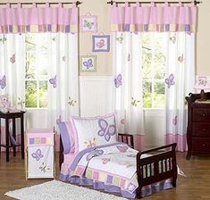 Pink and Purple Butterfly Collection Toddler Bedding 5 pc... https://www.amazon.com/dp/B0029029M6/ref=cm_sw_r_pi_dp_2UuBxbF230STJ