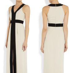Alice by Temperley Obi Panelled Crepe Gown / Black, Stone / RRP: £425.00