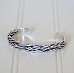Mens Sterling Silver Heavy Braid Cuff Bracelet