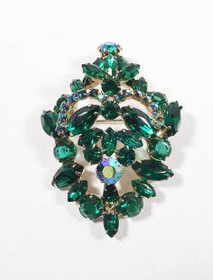 Mid Century Aurora Borealis and Emerald Green Rhinestone Prong