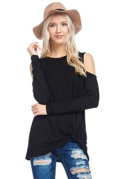 SOLID LONG SLEEVES FRONT KNOTTED *****OPEN SHOULDER TUNIC TOP    95% RAYON 5% SPANDEX  | Shop this product here: http://spreesy.com/ddstallons/69 | Shop all of our products at http://spreesy.com/ddstallons    | Pinterest selling powered by Spreesy.com