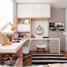 32 Ideas Home Office Quarto Feminino For 2019 Home Office Design, Home Office Decor, Home Interior Design, Home Decor, Office Style, Office Ideas, Small Room Bedroom, Home Bedroom, Bedroom Decor