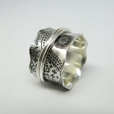 Vintage Inspired Paisley Sterling Silver Spinner Ring with Two Stering Silver Spinners on Etsy
