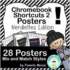28 Chromebook Shortcut Posters in various styles. Mix and Match! Help your students navigate their way through the Chromebook world with these cute posters!