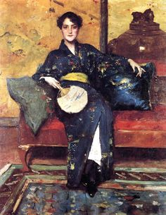 """Blue Kimono"" by William Merritt Chase (1898) - ""The widespread interest in all things Japanese--art, furnishings, costume, etc.--blossomed after the opening of Japan to Western trade in 1853-54. Western woman began adopting Japanese fashions & portrait painters were excited by the new color & patterns these costumes presented."""