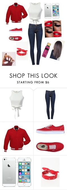 """""""High School Homecoming Game"""" by analinagalaviz ❤ liked on Polyvore featuring Frame Denim, Vans and LA: Hearts"""
