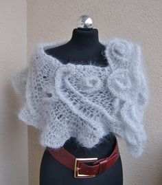 Mother's Day gifts,Shawl, Cape, Poncho, kid mohair, viscose, fog, frost, pearly gray, freeform crochet, accessories, women gift