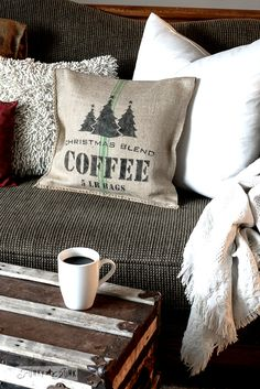 Make a Christmas themed grain sack coffee pillow instantly! / using Funky Junk's Old Sign Stencils / funkyjunkinteriors.net