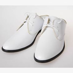 Men White Patent Leather Backless Retro Vintage Wedding Dress Shoes SKU-1100513