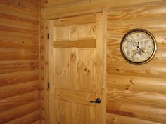 Pine Log Siding - Interior - with just a clear coat. This would be Great for the new house. I can see it in the Mudroom :) Heart Pine Flooring, Pine Floors, Log Cabin Siding, Log Cabins, Linwood Homes, Modern Stoves, Log Wall, Wood Stove Cooking, Cabins In The Woods