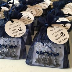 Personalized nautical themed wine charm set favors for any event! These customized wine charm set favors will add a special touch to your wedding, bridal shower, rehearsal dinner, birthday party, anniversary, bachelorette party or your special event. Each set of four comes packaged in an organza bag with your message tag attached. These fun and festive wine charms will adorn (and identify) wine glasses at your event. Cheers! From Appalachia looks forward to creating your one of a kind…