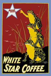 """Pure white star coffee created by the U. Printing CO, 1899 as a color lithograph. """"White Star Coffee"""" showing three frogs, each standing on the back of another, with the topmost frog reaching for a star labeled """"Pure. Coffee Advertising, Vintage Advertising Posters, Vintage Travel Posters, Vintage Advertisements, Print Advertising, Advertising Signs, Star Coffee, Coffee Art, Coffee Shop"""