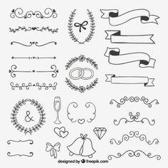 Dibujado a mano decoración para boda