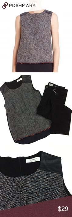 """Bailey 44 • Hopper Mixed Media Tweed Top Sleeveless, faux-leather shoulders and back yoke. Tweed front panel with raw-edge hem, high/low hem with shirttail back. Concealed zip back closure, contrast woven back, lined  • Approx. 25"""" from back of neck to longest point of hem • Made in USA • Excellent, like new condition. No flaws or signs of wear   //171019// Bailey 44 Tops Blouses"""