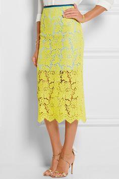 Preen by Thornton Bregazzi|Chelsea lace crepe de chine midi skirt|NET-A-PORTER.COM