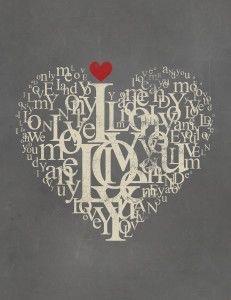 Free printable typographic Love Poster for Valentine's Day by grafficalmuse.com