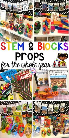 Blocks & STEM prop idea list for the WHOLE year every season holiday and theme! Make it an amazing place for your preschool pre-k and kindergarten engineers. Block Center Preschool, Preschool Centers, Preschool Science, Life Science, Preschool Library Center, Science Centers, Stem Science, Elementary Science, Science Books