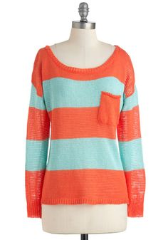 Sunset Sneaking In Sweater - Blue, Stripes, Pockets, Long Sleeve, Casual, Scholastic/Collegiate, Fall, Mid-length