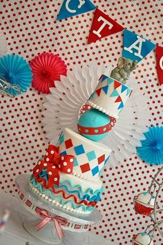 Vintage Circus/Carnival Themed Cake by Simply Sweet Creations