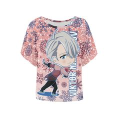 Chibi Viktor Women's Batwing-Sleeved Blouse T shirt (Model T43)