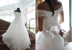 off-shoulder wedding gown