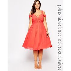 Forever Unique Plus Sweetheart Midi Dress With Off Shoulder ($234) ❤ liked on Polyvore featuring dresses, coral, plus size fitted dresses, cold shoulder dress, red midi dress, off the shoulder cocktail dress and women plus size dresses