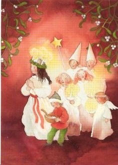 on Santa Lucia Day In Scandinavia on the 13 th of December people celebrate Lucia . People arrange processions with a Luci. Swedish Christmas, Scandinavian Christmas, Christmas Art, St Lucia Day, Santa Lucia, Childrens Christmas, Christmas Tablescapes, Christmas Illustration, Vintage Christmas Cards