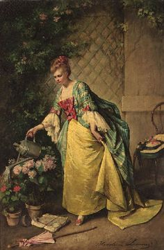 The Athenaeum - Watering the Flowers (Madeleine Jeanne Lemaire - No dates listed)