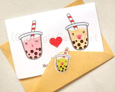 Could order these cards:  https://www.etsy.com/no-en/listing/188359909/tapioca-bubble-tea-notecard-kawaii-boba?ga_order=most_relevant&ga_search_type=all&ga_view_type=gallery&ga_search_query=bubble%20tea&ref=sr_gallery_3