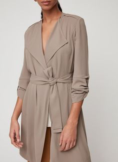 Instant polish + a just-enough layer. This short, modern trench jacket is tailored with precise, streamlined detailing. It's made from a silky, flowing fabric that stays looking polished all day. Summer Outfits Women, New Outfits, Fall Outfits, Casual Outfits, Fashion Outfits, Women's Fashion, Trench Jacket, Gray Jacket, Lightweight Trench Coat