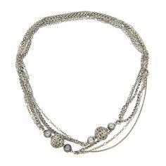 David Yurman Quatrefoil Sterling Silver Pearl Diamond Long Multi Chain Necklace