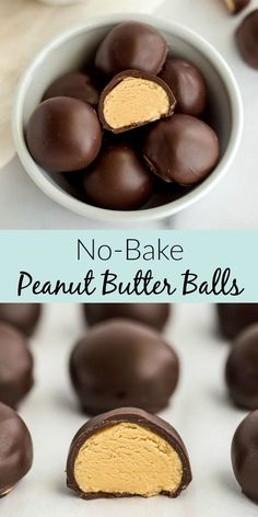 These easy No-Bake Peanut Butter Balls feature a smooth and .- These easy No-Bake Peanut Butter Balls feature a smooth and creamy peanut butter filling inside of a chocolate coating. Incredibly easy to make with just five simple ingredients! Peanut Butter No Bake, Peanut Butter Filling, Peanut Butter Truffles, Easy Peanut Butter Balls, Peanut Butter Buckeyes, Peanut Butter Snacks, Peanut Butter Chocolate No Bake Cookies Recipe, Easy Peanut Butter Recipes, Easy No Bake Recipes