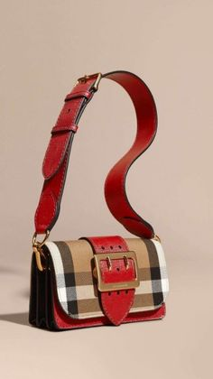 63d07e6981982 The Buckle Bag in House Check and Leather Military Red military Red ·  Borsette BurberryBorse ...