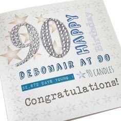 Handmade Mens 90th Birthday Card Stars Brown GReen Blue Self Adhesive Numbers - 'Debonair at 90'