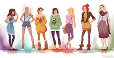 Here's a fun series of Disney geek art showing off the popular princesses sporting a different kind of fashion trend. The character art was created by by deviantART artist viria13.