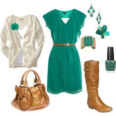 Cute Fall Outfits 2012 - teal and brown Fashion Moda, Look Fashion, Womens Fashion, Fashion Outfits, Brown Fashion, Spring Fashion, Fashion Trends, Mein Style, Church Outfits