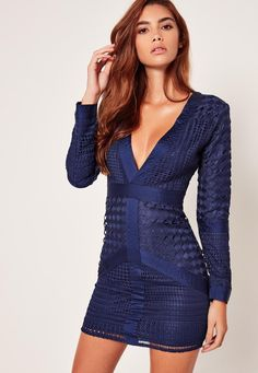 Take the plunge and ensure all eyes are on you in this bodycon dress - featuring a lace overlay, sexy plunge neckline and a deep navy hue for a new season hit.