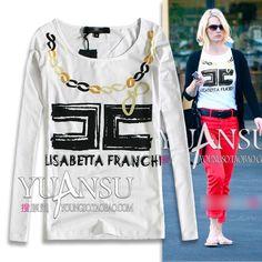 [yuansu brand]2013 New Autumn Letter Logo Print Pattern Fashion Basic Llong sleeveT shirt Women White Black Size S-L $24.92