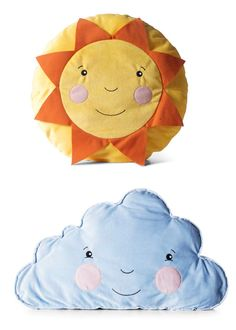 Is it partly-sunny or partly-cloudy?  Let your child decide with playful sun and cloud cushions from IKEA.