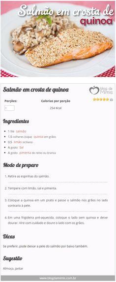 Salmão em crosta de quinoa - Blog da Mimis - Receita que emagrece e melhora o colesterol. #diet #dieta #colesterol #crocante #empanado #quinoa #receita #saúde Healthy Dishes, Healthy Snacks, Healthy Tips, Healthy Recipes, Good Food, Yummy Food, Food Illustrations, I Foods, Carne