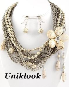 Chunky Multi Strands Silver Tone chains & Ivory-Color Semi Precious Necklace Set
