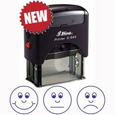 3 Faces / Expressions Self-Assessment Self-inking Stamp for Teachers BLUE ink