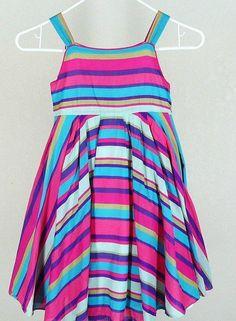 Monsoon Girls Stripe Summer Dress Sz 7 8 Strappy Twirl Easter #Monsoon #DressyEveryday